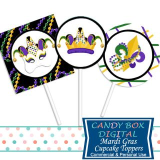 Fat Tuesday! Time for a celebration worthy of Carnival Time! These high quality Ready-To-Print Mardi Gras Cupcake Toppers or Stickers will make your DIY party look great! And you can print as many as you want!