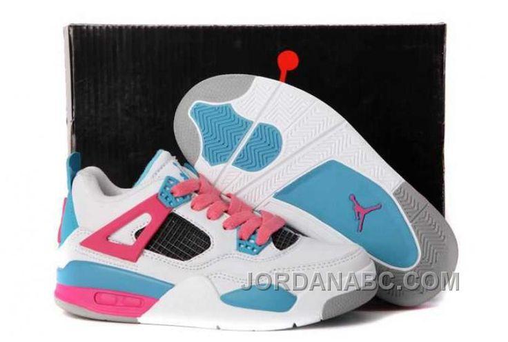 http://www.jordanabc.com/nike-air-jordan-4-kids-white-pink-blue-shoes-209853.html  NIKE AIR JORDAN 4 KIDS WHITE PINK BLUE SHOES 209853 Only $73.00 ,…