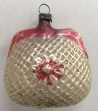 Antique Vintage Mercury Glass Ornament Quilted Red White Floral Coin Purse