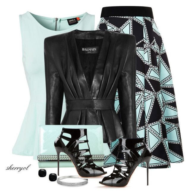 """""""Leather Jacket Contest"""" by sherryvl ❤ liked on Polyvore featuring FAUSTO PUGLISI, ONLY, Kate Spade, Blue Nile, Balmain, Ted Baker and Alexander McQueen"""