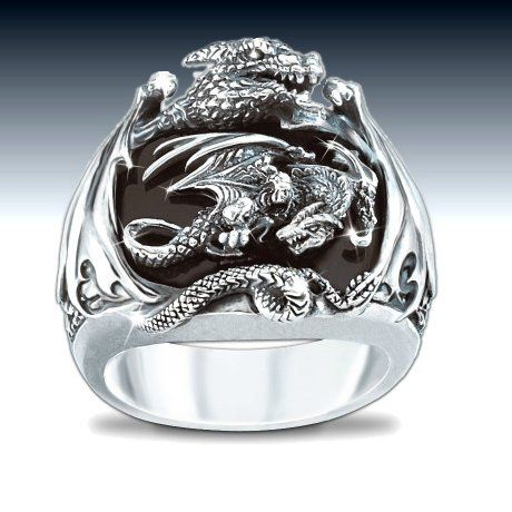 Realm Of The Dragon Sterling Silver Ring Mens Fantasy