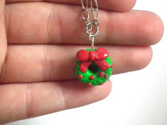 Cristmas Wreath Necklace Christmas Wreath by LittlePandahugs