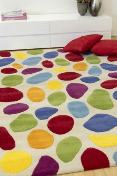 Tie it together with a bright patterned rug!