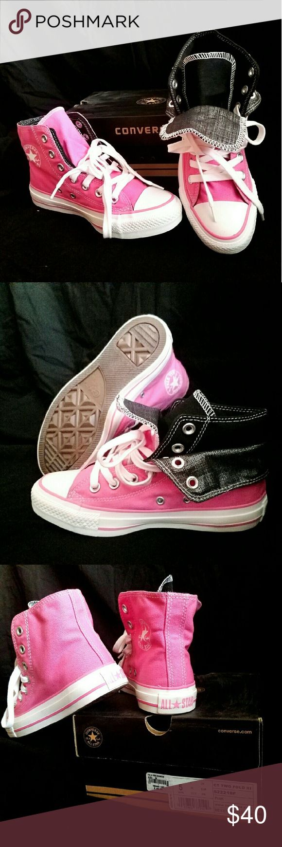 Two Fold High Top Converse Pink and black double fold styling.  Brand New.  Never worn. Converse Shoes Sneakers