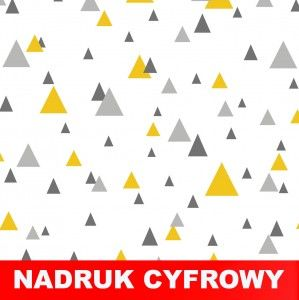 Dresówka pętelka Trójkąty żółto-szare na białym: Nadruk Cyfrowy Premium