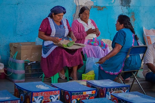 "Women from Oaxaca preparing ""nopales"" (cactus spines are removed by hand... then peeled cactus is cooked to eat) Rico!"