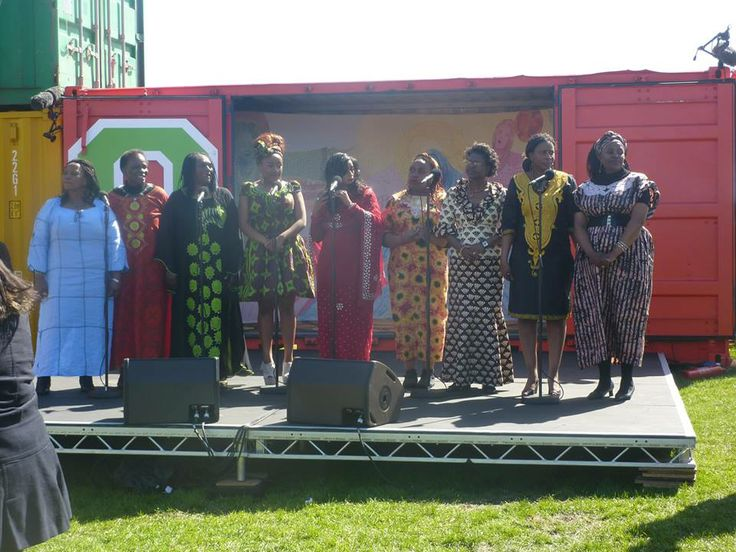 Tees Vally Creative Afro Women's Group perform an original song as part of the BBC's Great Nroth Passion, broadcast live from Bents Park, South Shields South Tyneside.