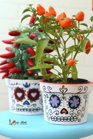 Vaso CAVEIRA MEXICANA com pimentinhas