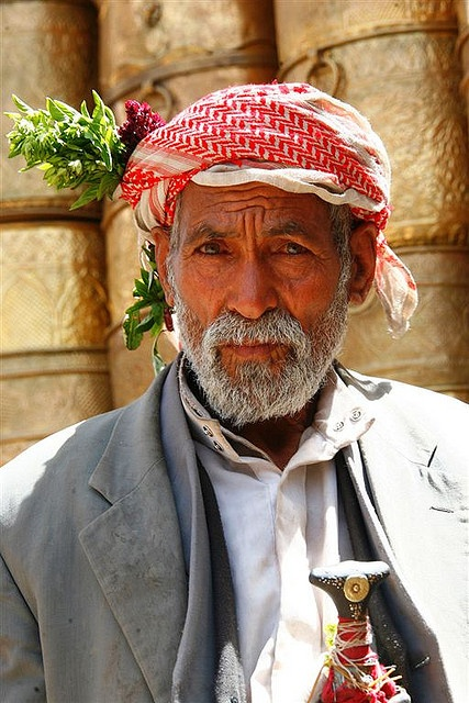 Old bearded man with flowers in his keffiyeh - Yemen by Eric Lafforgue, via Flickr