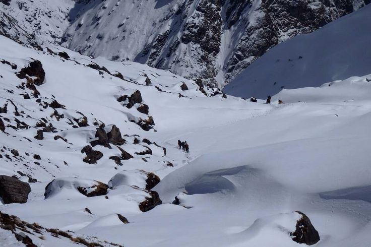 When you look good you see us walking. On our way to Annapurna base camp