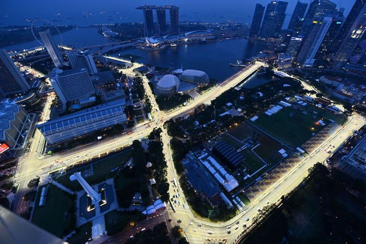 The illuminated track for the upcoming Formula One Singapore Grand Prix night race in Singapore