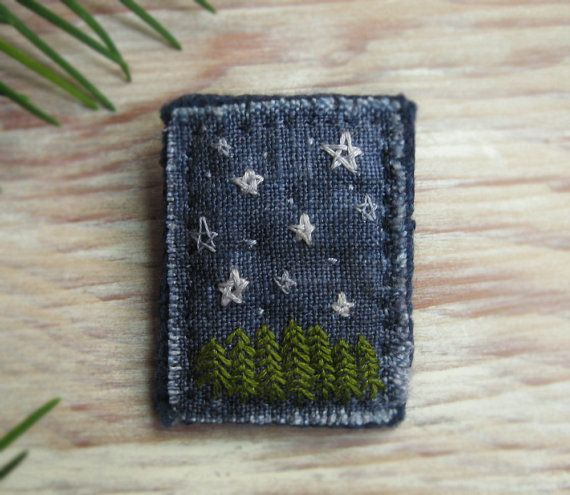 Starry Night Hand Embroidered Brooch by Sidereal on Etsy, $25.00