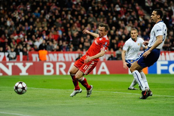 Ivica Olic of Bayern Muenchen misses a simple chance during the UEFA Champions League quarter final first leg match between Bayern Muenchen and Manchester United at the Allianz Arena on March 30, 2010 in Munich, Germany.
