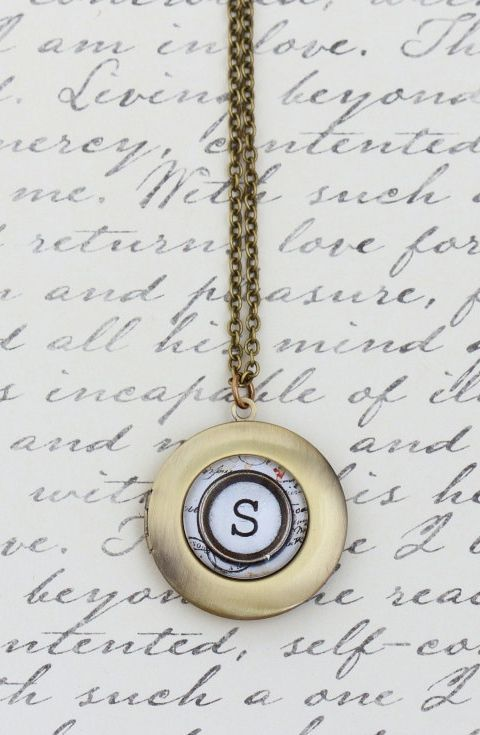 Personalized Locket Initial Locket Necklace i would love it as an m