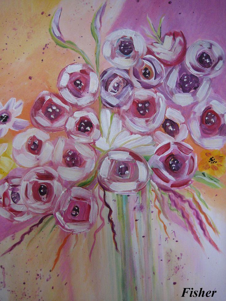 Mes fleurs abstrait 24 x 20 par Louise Fisher Sanscartier