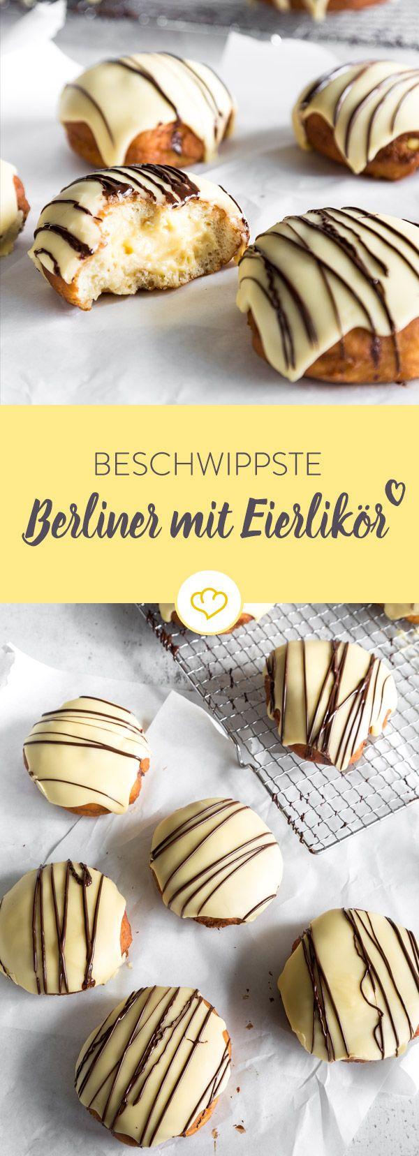 Klingelingelling, hier kommt der Eierlikörberliner! Mit leckerer Cremefüllung und schönem gelben Guss sind diese Berliner schon ein echter Klassiker.