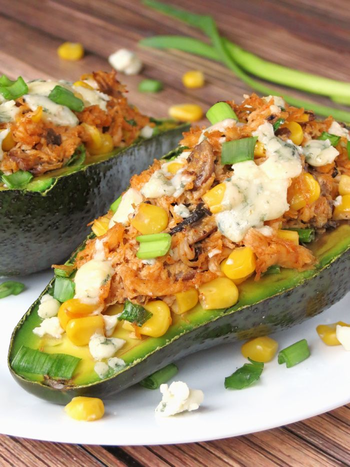 Chicken Stuffed Avocado - If you love avocados, it would be a crime not to try this one! | YummyAddiction.com