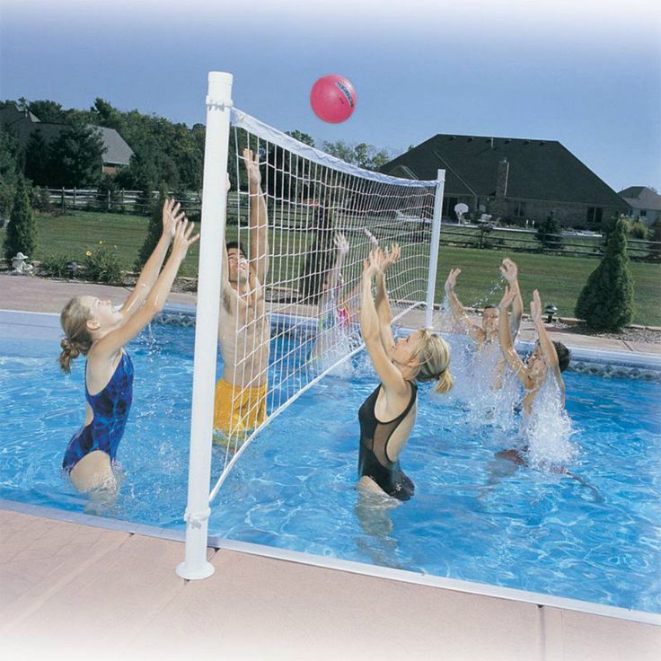 Swimming Pool Volleyball Set Net Ball Steel Posts Outdoor