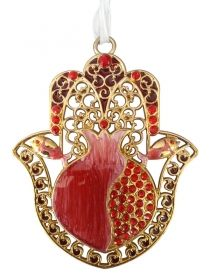 Hamsa with Red Enamel Pomegranate and Crystals by aJudaica