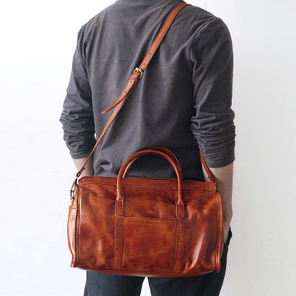 Men Women Genuine Leather Handwork Staining Retro Hangbag Shoulder Crossbody Bag - US$160.98
