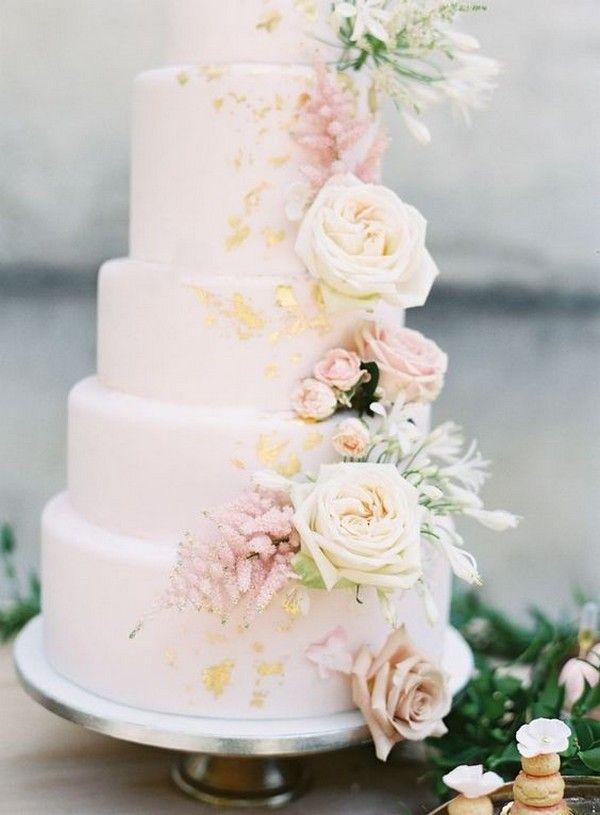 Erröten Rosa und Gold Hochzeitstorte #obde # weddingideas2019   – Wedding Ideas 2019