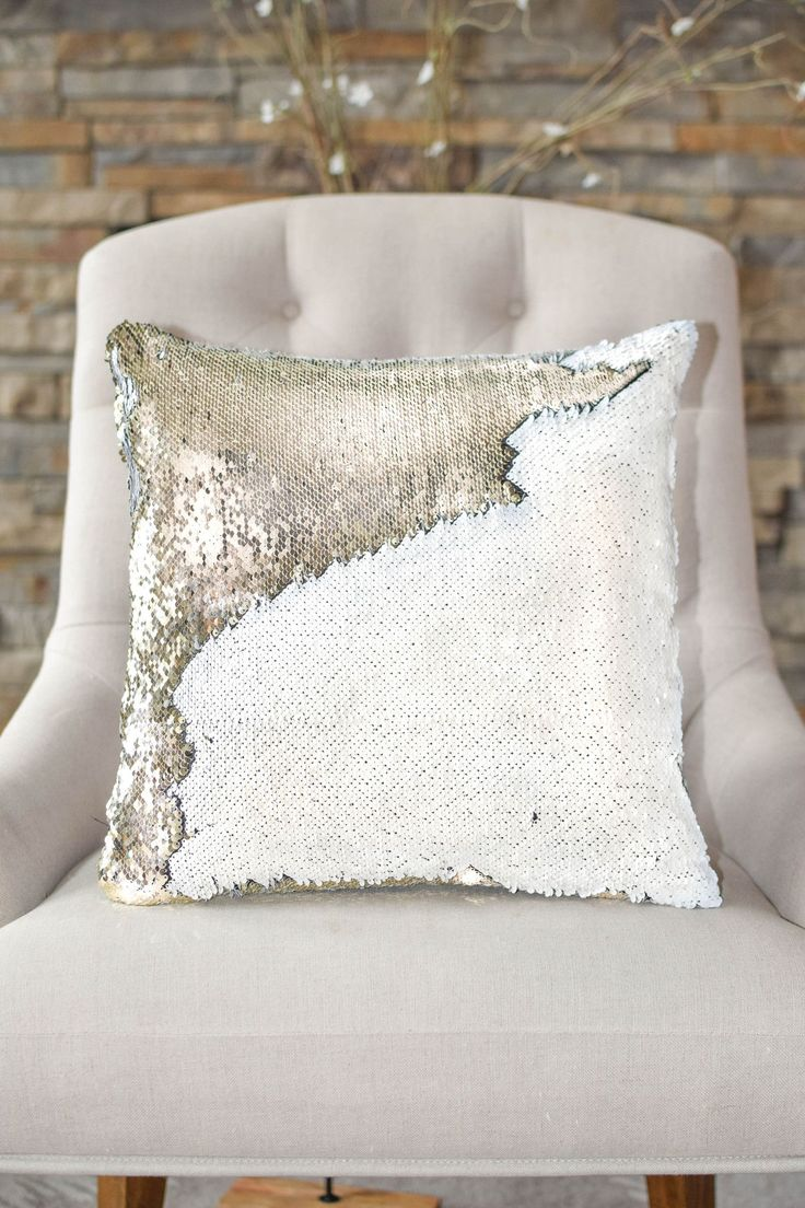 One of our most popular pillows! The white and gold sequins add an understated chic look to your space and the reversible sequins help you create endless possible looks! - Includes both Pillow Cover +