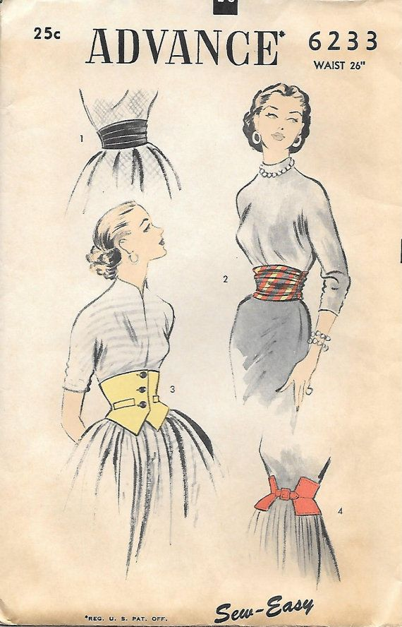 Advance 6233-1950s Unique Misses Waist Cincher and Cummerbund Vintage Sewing Pattern, GrandmaMadeWithLove