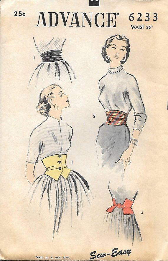Advance 6233-1950s Unique Misses Waist Cincher and Cummerbund Vintage Sewing Pattern, GrandmaMadeWithLove