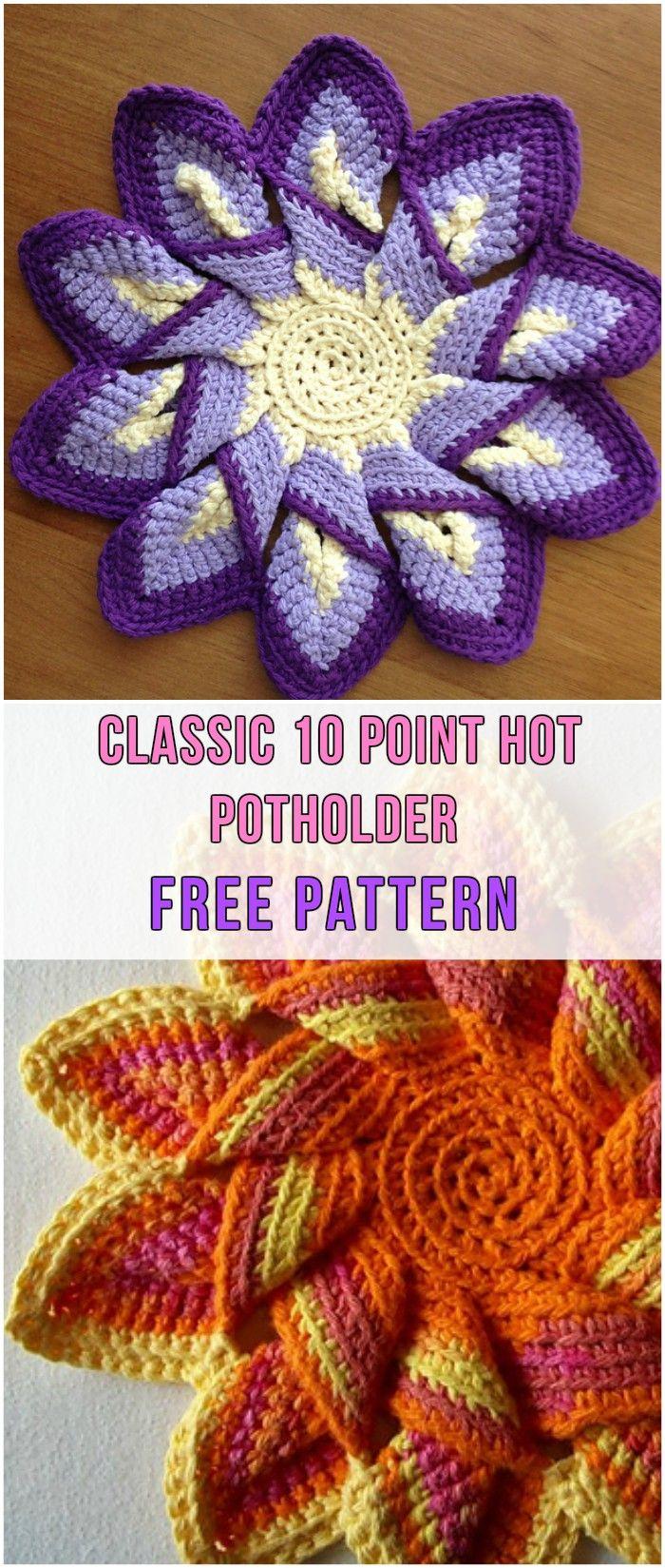 Classic 10 Point Hot Potholder Free Pattern #crochet #potholder #yarn #hook #freepattern #colorful
