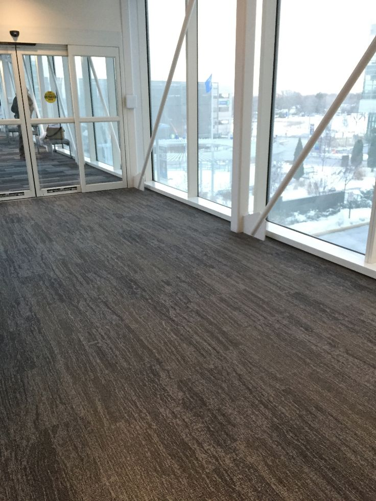 Interface carpet tile, Vermont, installed in a skyway  a