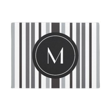 #Striped Pattern Grey Black White Custom Monogram Doormat - #doormats #home & #living