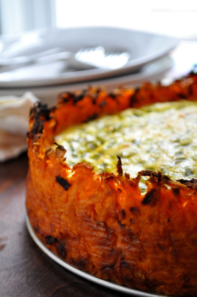 Goat Cheese Quiche with Sweet Potato Crust - farmgirlgourmet.com Love the crust idea!