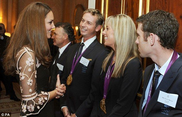 Celebratory reception: The Duchess of Cambridge pictured talking to Carl Hester, Charlotte Dujardin, and Scott Brash during a reception for Team GB Medalists at the 2012 Olympic and Paralympic Games