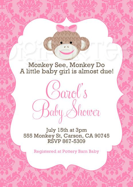 Girl Sock Monkey Baby Shower Invitation by dpdesigns2012 on Etsy
