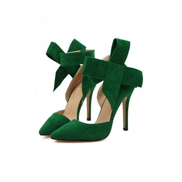 WithChic Green Detachable Bow Embellishment High Heeled Pumps ($42) ❤ liked on Polyvore featuring shoes, pumps, high heel court shoes, high heel pumps, green platform pumps, bow pumps and green pumps