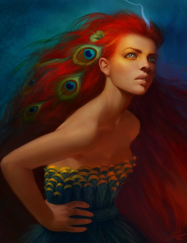 Colors: How Pham, Peacock Feathers, The Artists, Red Hair, Color, Digital Art, Fire Hair, Baopham, Girls Hair