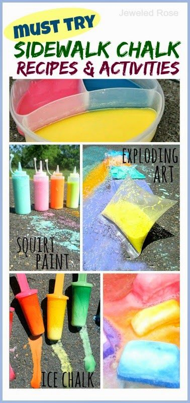 Tons of fun creative ways to play with sidewalk chalk; Recipes for exploding chalk, ice chalk, squirty chalk, chalk bombs,and more!