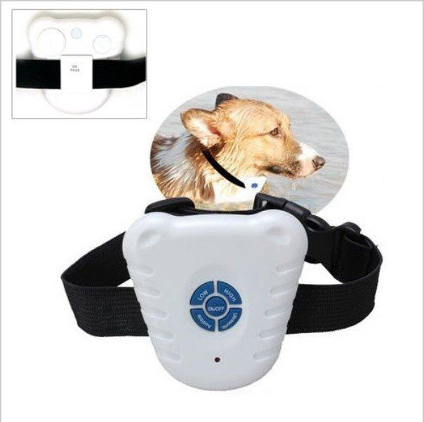 Bark stop collar controls dog's excessive barking. Triggered by bark vibration, the ultrasonic sound from the collar reinforces behavior. It will not