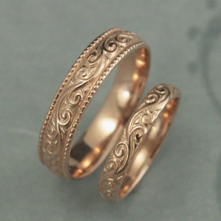 Cool Antique Style Wedding Rings Flourish Wide Wedding Rose Gold Wedding Bands Vintage Design Rings Patterned Rings His and Hers Bands