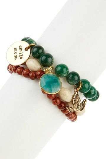 Multicolor Smile More Bead Stretch Bracelet... Pretty color combo