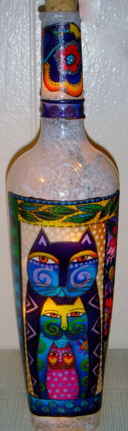 OMG I Want!   Colorful Cat Fabric Lighted Wine Bottle Accent Light. $22.00, via Etsy.