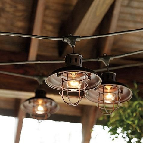 Nautical Shade For Vintage String Lights 4.99 (ON SALE) Designed exclusively to fit our top-rated Vintage String Lights, this classic cage shade gives your outdoor lights an instant nautical or industrial look. Crafted of powder-coated metal to resist rust and moisture.