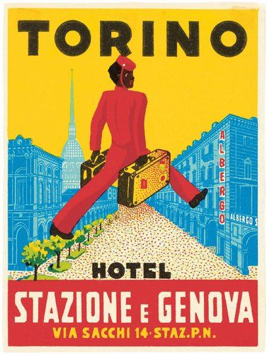 "Torino, A 1930s luggage label from an Italian hotel, in ""World Tour:   Source: The New York Times"
