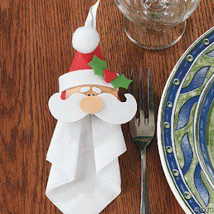 Santa tops the napkin. Repinned by www.mygrowingtraditions.com
