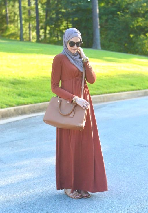 orange maxi dress hijab dress, Winter hijab street styles by leena Asaad http://www.justtrendygirls.com/winter-hijab-street-styles-by-leena-asaad/