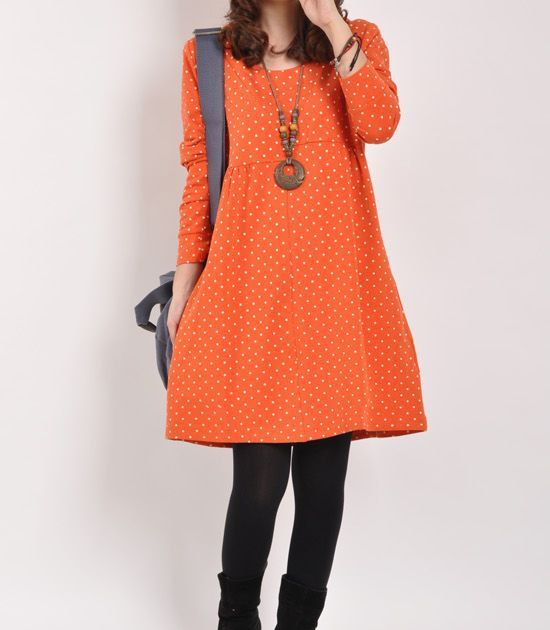 Orange cotton dress long sleeve dress maxi by originalstyleshop, $59.00