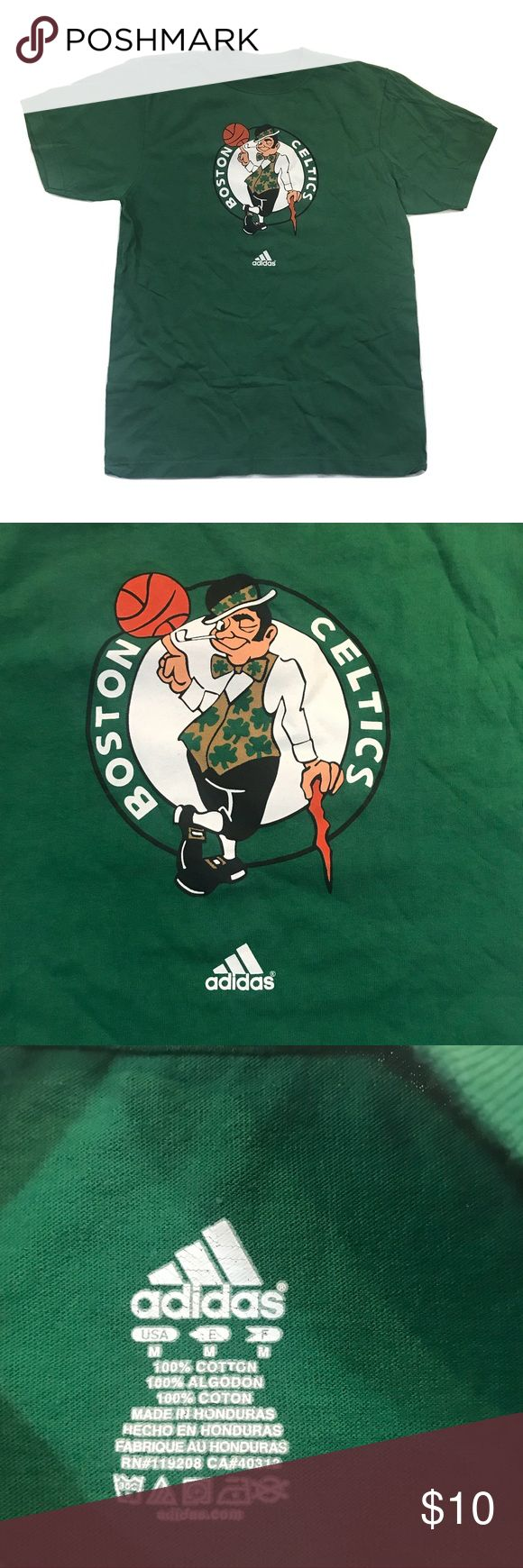 ADIDAS BOSTON CELTICS NBA MEN'S T-SHIRT MEDIUM 100% Cotton Size: Medium Top To Bottom: 26 Inches Pit To Pit: 18 Inches  Shirt is in overall EXCELLENT shape with no stains or tears! Comes from a smoke and pet free environment! adidas Shirts Tees - Short Sleeve