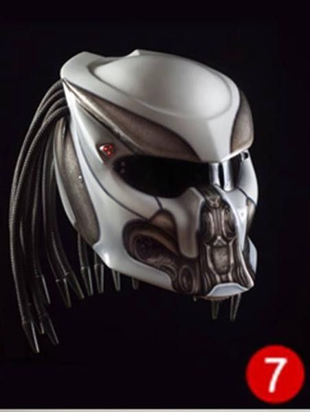 »Basic Helm KYT Certificate SNI , DOT »Cover Predator quality fiber materials »Hair Custom Handmade. »3 LED - Laser, equipped with on-off switch. »Visor / Glass can open and close, clear...@ artfire
