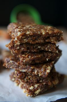Raw Fig Bars. 1¼ cup dried figs, ½ cup walnuts, ⅓ cup raw almonds, 1 tbsp maple syrup, 2 tsp raw cacao