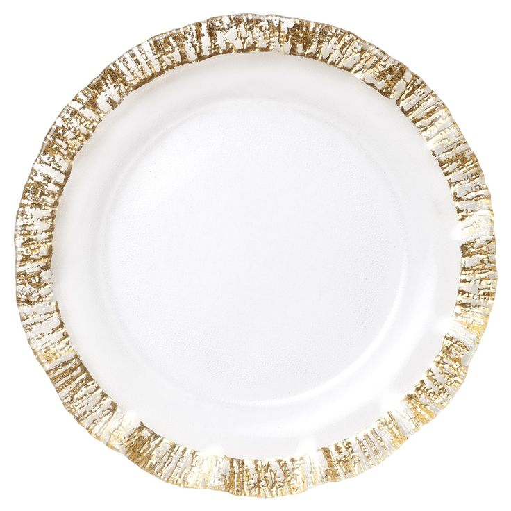 The Ruffle Glass Gold Service Plate/Charger creates a luxurious table setting.